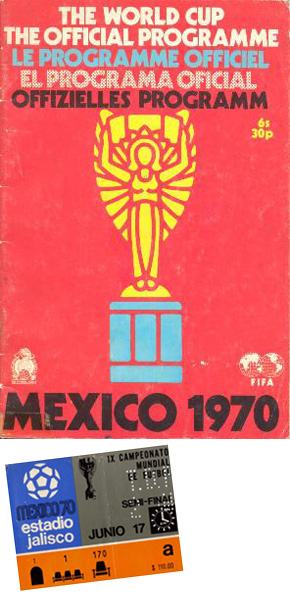 Mexico 1970 programme and ticket