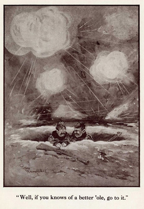<em>A better 'ole,</em> by Bruce Bairnsfather from the 'Fragments from France' series in <em>Bystander</em> magazine, 24 November 1915