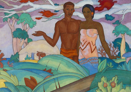 Hawaiian Boy and Girl mural by Arman Manookian, 1928 (private collection). Honolulu Museum of Art/Wikimedia Commons