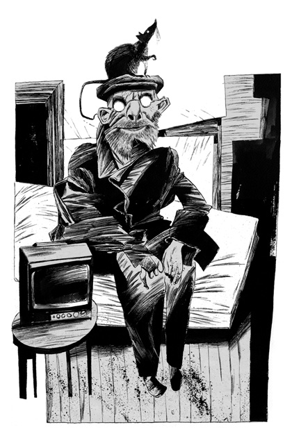 Dave McKean's original artwork from Neil Gaiman's <em>Coraline</em>. Loaned by the artist
