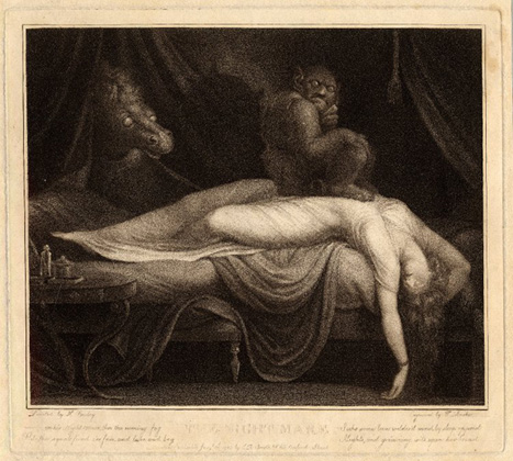 <em>The Nightmare</em>, after Henry Fuseli. Print made by Thomas Burke, London, 1783. On loan from the Trustees of the British Museum