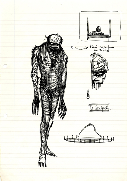 Clive Barker's sketch of a cenobite, from his draft of <em>The Hellbound Heart</em> © Clive Barker