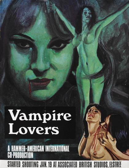 Pre-release promotional poster for Hammer Films' <em>Vampire Lovers</em>, 1970