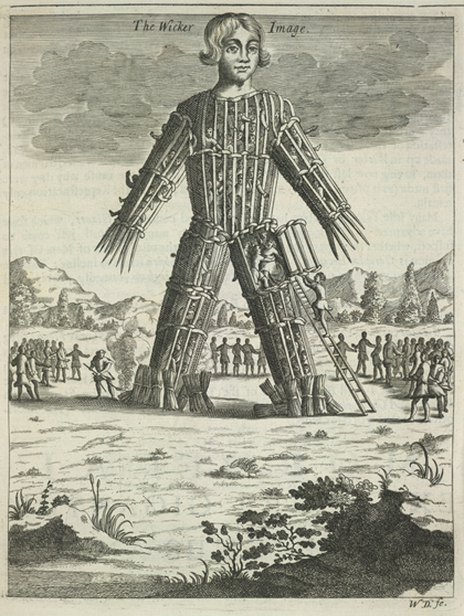 An early illustration of a 'wicker man' from Nathaniel Spencer's <em>The Complete English Traveller</em>, 1771 © British Library Board