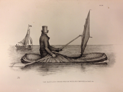 <em>Boat-Cloak or Cloak-Boat</em> by Peter Halkett, 1848. An early inflatable dinghy, developed in London and tested on the River Thames, that doubled as a cloak (with a sail that doubled as an umbrella)