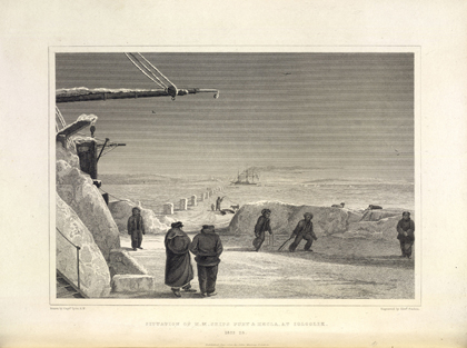 A game of cricket played on the ice. William Edward Parry, <em>Journal of a Second Voyage for the Discovery of a North-West Passage</em>. London, 1824