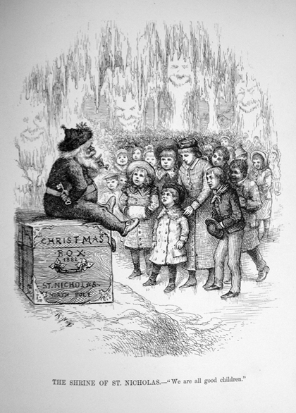 An early illustration of Santa Claus as we now picture him from Thomas Nast's <em>Christmas Drawings for the Human Race</em>. London (New York), 1890
