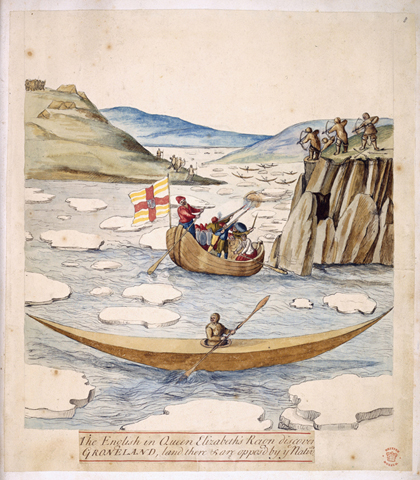 A skirmish between Martin Frobisher's men and Greenland Inuit at 'Bloudie Point' on Frobisher's second voyage in 1577. London, 1578