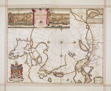 'A map of the North Pole and parts adjoining' by Moses Pitt, from <em>The English Atlas</em> – the personal atlas of King Charles II. London, 1680
