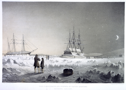 <em>HMS Assistance and Pioneer in Winter Quarters, Returning Daylight</em>. From a series of fourteen lithographs based on sketches made by Commander Walter W. May during the voyage of <em>Assistance</em> up Wellington Channel in search of Sir John Franklin. London, 1855