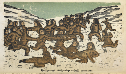Illustration from <em>Kaladlit Oklluktualliait</em>, woodcuts of traditional Greenlandic Inuit stories by an indigenous artist. Godthaab, 1859–63