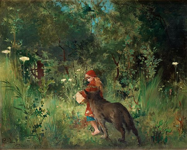 <i>Little Red Riding Hood</i> (1881) by Carl Larsson. Wikimedia Commons