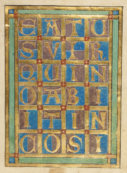 Decorated incipit page continuing the text of Psalm 1, which began with the large initial B on the facing page. The letters read: [B]eatus vir qui no[n] abiit in co[n]si[lio impiorum] (Blessed is the man who has not walked in the counsel of the ungodly). Germany, <i>c</i>. 1240–1250. J Paul Getty Museum/Google Cultural Institute