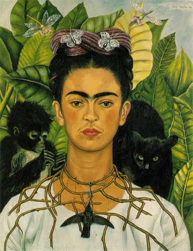 <i>Self-Portrait with Thorn Necklace and Hummingbird</i> by Frida Kahlo, 1940. Harry Ransom Center, University of Texas at Austin/Wikimedia Commons