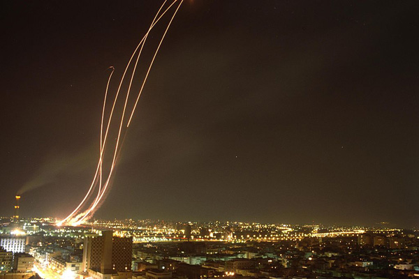 Patriot missiles are launched to intercept an Iraqi Scud missile over Tel Aviv. US Government Press Office/Wikimedia Commons