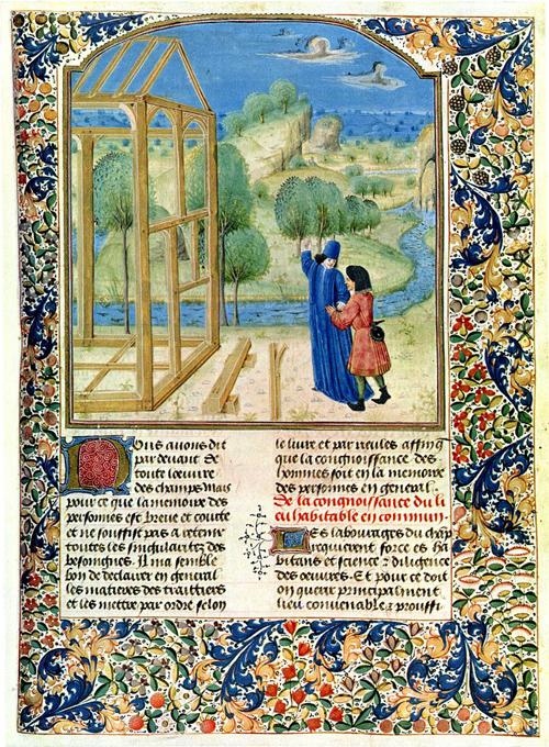 'Construction d'une maison' (Building a house). Pier de Crescenzi, <i>Livre des prouffitz champestres et ruraulx</i>, <i>c</i>. 1480. Wikimedia Commons
