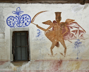 Angel of Death mural in the wooden church at Borovineşti, Argeş county, Romania. Alexandru Baboş/Wikimedia Commons