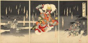 Chikanobu Toyohara, <i>Foxfires</i>, 1898. Triptych from the 'Bamboo Knots' (<i>Take no Hitofushi</i>) series. Wikimedia Commons