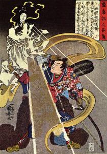 A man confronted with an apparition of the Fox goddess. Utagawa Kuniyoshi (1797–1861). Wikimedia Commons