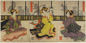Geisha playing <i>kitsune-ken</i>, an early Japanese rock-paper-scissor game. Kikukawa Eizan (1787–1867). V&A/Wikimedia Commons