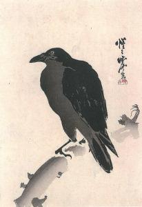 <i>Crow on a Branch</i> by Kawanabe Kyōsai. Artlino Archive/Wikimedia Commons