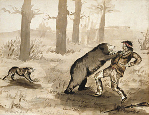 <i>A rough and tumble with a grizzley</i> by Harry Bullock Webster (watercolour), <i>c</i>. 1874–80. University of British Columbia Archives/Wikimedia Commons