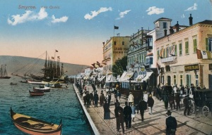 Postcard of cosmopolitan Smyrna wharf (popularly known as <i>Le Cordon</i>) in 1910. Wikimedia Commons