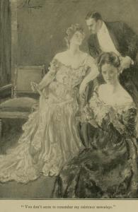 Lily Bart enjoys the attentions of a gentleman. Illustration by A.B. Wenzell for <i>The House of Mirth</i>. Charles Scribner's Sons, 1905. Wikimedia Commons