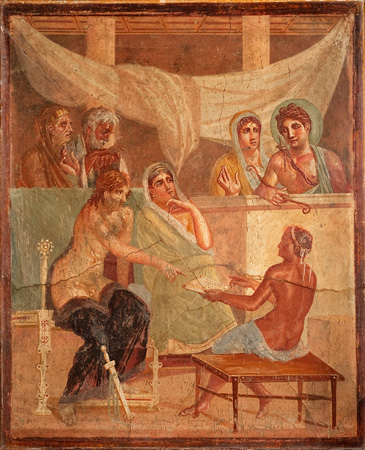 Alcestis and Admetos depicted in an Ancient Roman fresco (45–79 AD) from the House of the Tragic Poet, Pompeii. Wikimedia Commons
