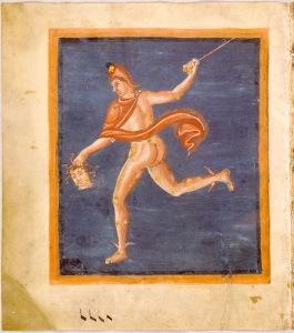 Perseus with the head of Medusa, illuminated manuscript of Aratus of Soli, <i>c</i>. 830–840. Leiden University Library/Wikimedia Commons