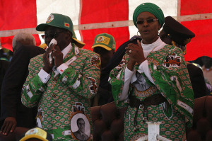 President Robert Mugabe and his wife Grace at an election rally at Chubuku stadium south of Harare, July 2013. DandjkRoberts/Wikimedia Commons