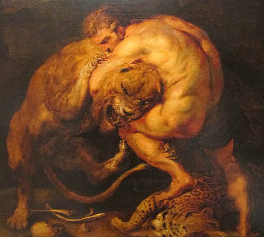 <i>Herakles fighting the Nemean Lion</i> by Peter Paul Rubens (1577–1640). Wikimedia Commons