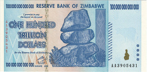 A 2009 Z$100 trillion note. Reserve Bank of Zimbabwe/eBay/Wikimedia Commons