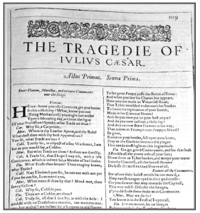 First folio of Mr Shakespeare's <i>Julius Caesar</i> (not yet published)