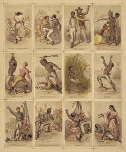 The journey of a slave from the plantation to the battlefield, illustrated cards, <i>c</i>. 1863. Library of Congress/Wikimedia Commons