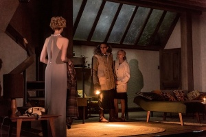 Elizabeth Dubicki, Mark Strong and Hope Davis in <i>The Red Barn</i> at the National Theatre