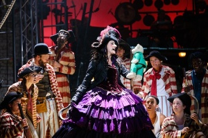 Captain Hook (Anna Francolini) and pirates in Peter Pan at the National Theatre © Steve Tanner