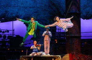 Straight on till morning: Peter Pan (Paul Hilton) and Wendy (Madeleine Worrall) take flight © Steve Tanner