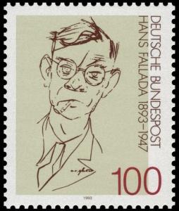 Deutsche Bundespost stamp commemorating the 100th anniversary of Hans Fallada's birth. Wikimedia Commons