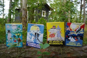 The first four collectors' editions from Sort Of Books, pictured on the Janssons' summer island of Bredskär