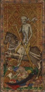 Death, from the Visconti di Madrone tarot deck. Beinecke Rare Book & Manuscript Library, Yale University/Wikimedia Commons