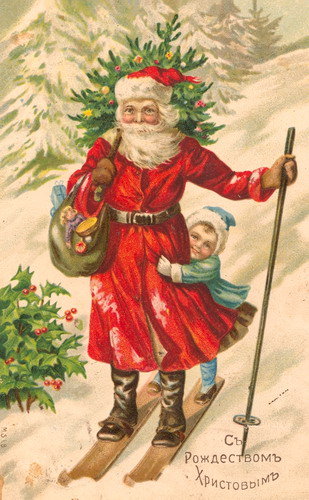 Pre-revolutionary Russian winter greetings card featuring Ded Moroz and Snegurochka. Wikimedia Commons