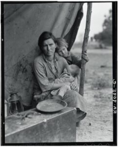 """<a href=""""https://www.nytimes.com/2018/11/28/lens/dorothea-lange-migrant-mother.html"""" target=""""_blank"""" rel=""""noopener""""><em>Migrant Mother</em></a> by Dorothea Lange, 1936"""